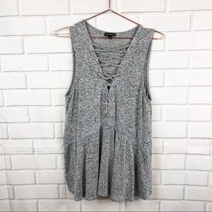 Express | knit lace up sleeveless blouse